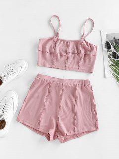 ZAFUL Ribbed Seam Detail Two Piece Shorts Set - Light Pink L