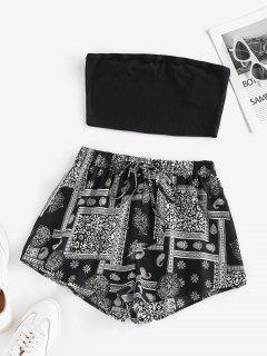 ZAFUL Bohemian Flower Ribbed Bandeau Shorts Set - Black M