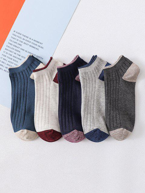 hot 5 Pairs Colorblock Ankle Socks - MULTI  Mobile
