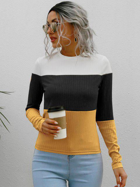 women Fitted Ribbed Colorblock Knitwear - WHITE M Mobile