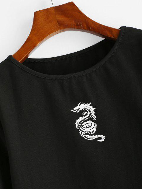 sale Chinese Dragon Print Long Sleeve Baby Tee - BLACK M Mobile