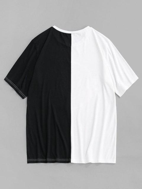 T-shirt Bicolore con Stampa di Rose - Nero S Mobile