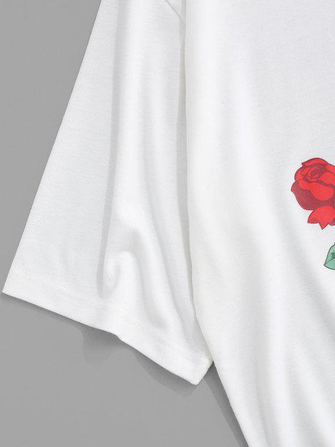 T-shirt Bicolore con Stampa di Rose - Nero L Mobile