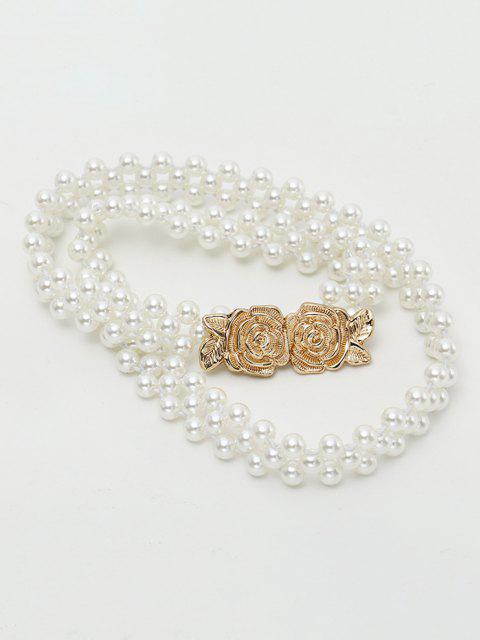 shops Faux Pearl Floral Buckle Elastic Beaded Belt - MILK WHITE  Mobile