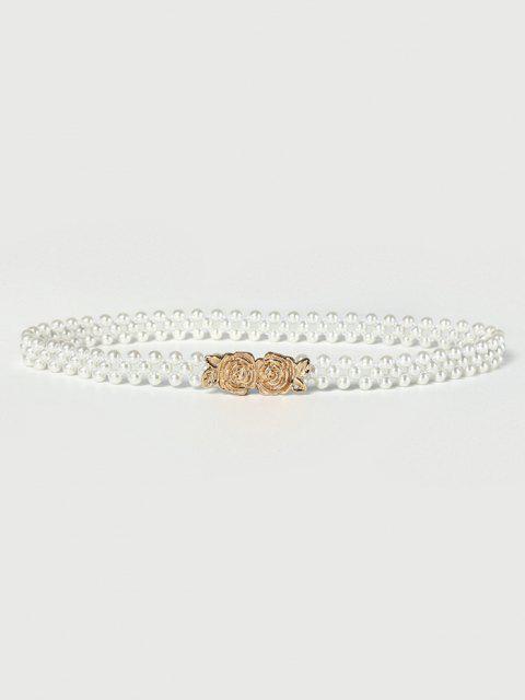 Cintura Elastica con Perla Sintetica e Fibbia e Motivo Floreale - Bianca Latte  Mobile