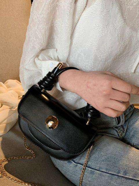 affordable Knotted Chain Saddle Bag - BLACK  Mobile