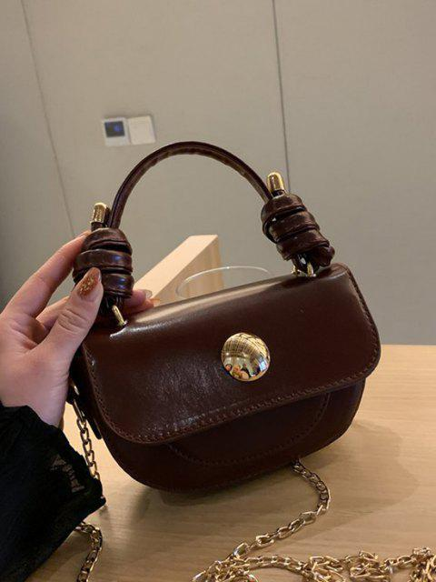 womens Knotted Chain Saddle Bag - DEEP BROWN  Mobile