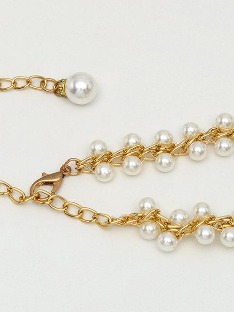 ladies Faux Pearl Lined Decorative Chain Belt - GOLDEN  Mobile
