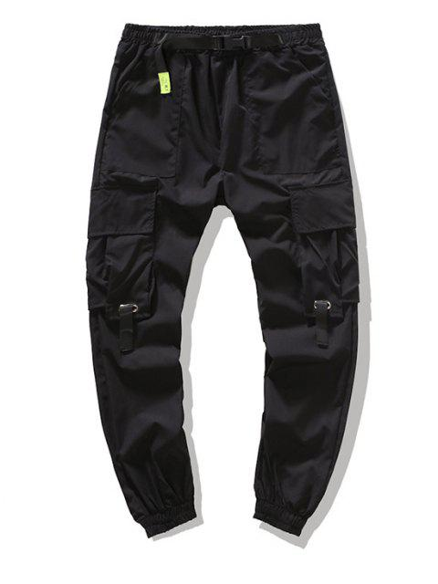 women Multi-pocket Buckle Strap Cargo Pants - BLACK XS Mobile