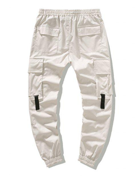 lady Multi-pocket Buckle Strap Cargo Pants - WHITE XS Mobile