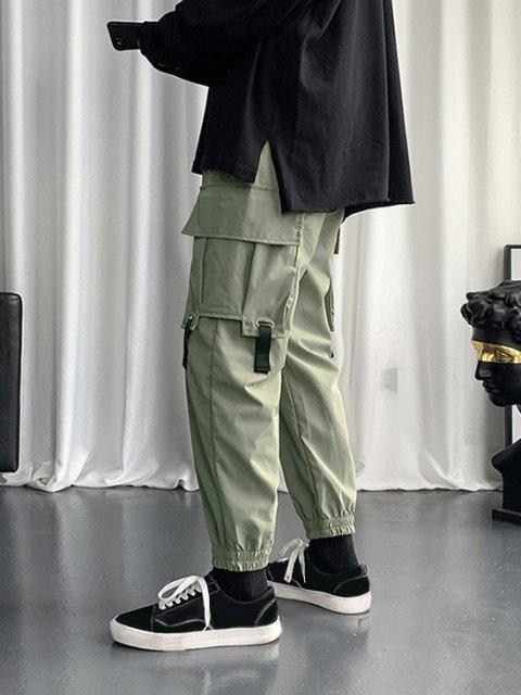 Pantalon Cargo à Bretelle Bouclée avec Multi-Poches - Vert profond XS Mobile