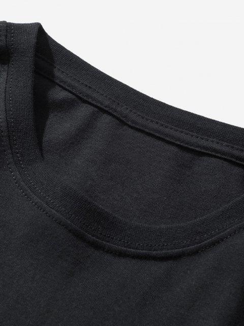 T-shirt Semplice con Stampa Pianeta e Astronauta - Nero XL Mobile