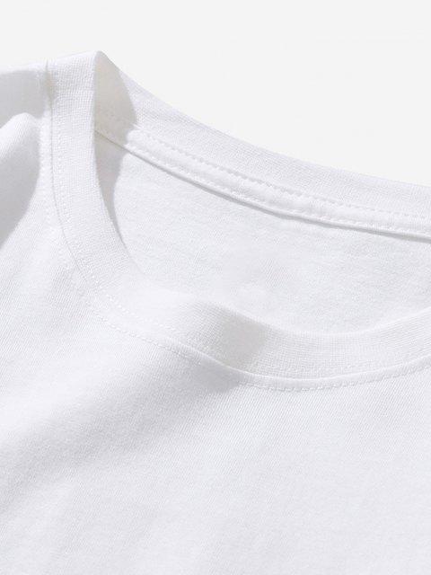 T-shirt Semplice con Stampa Pianeta e Astronauta - Bianca XL Mobile