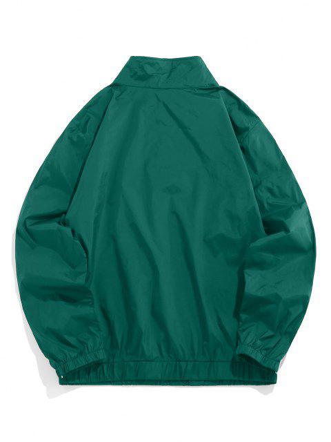ZAFUL Buchstabe Gestickter Viertel Reißverschluss Sweatshirt - Dunkelgrün L Mobile