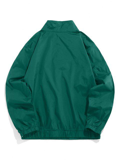 ZAFUL Buchstabe Gestickter Viertel Reißverschluss Sweatshirt - Dunkelgrün M Mobile
