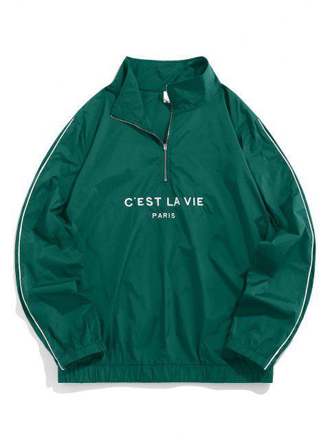 buy ZAFUL Letter Embroidered Quarter Zip Sweatshirt - DEEP GREEN XXL Mobile