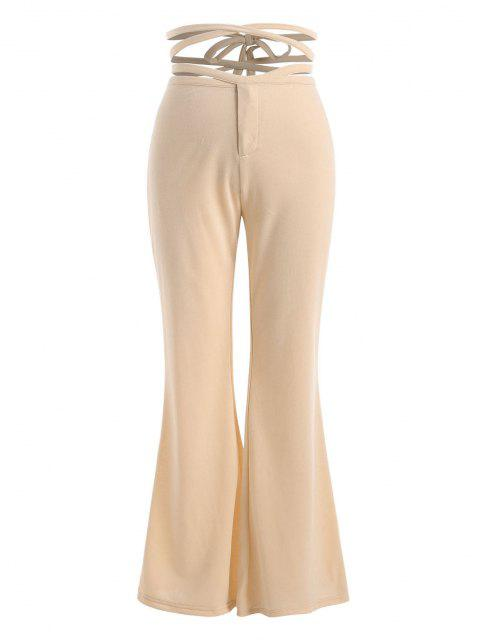 ladies Straps Cross Wrap High Waisted Flare Pants - LIGHT COFFEE L Mobile