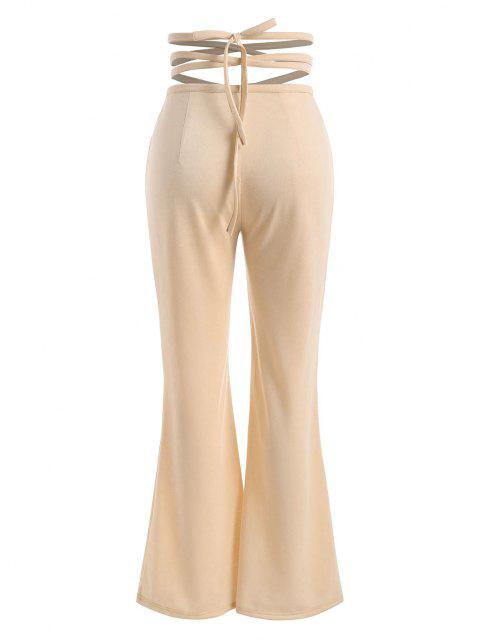latest Straps Cross Wrap High Waisted Flare Pants - LIGHT COFFEE S Mobile