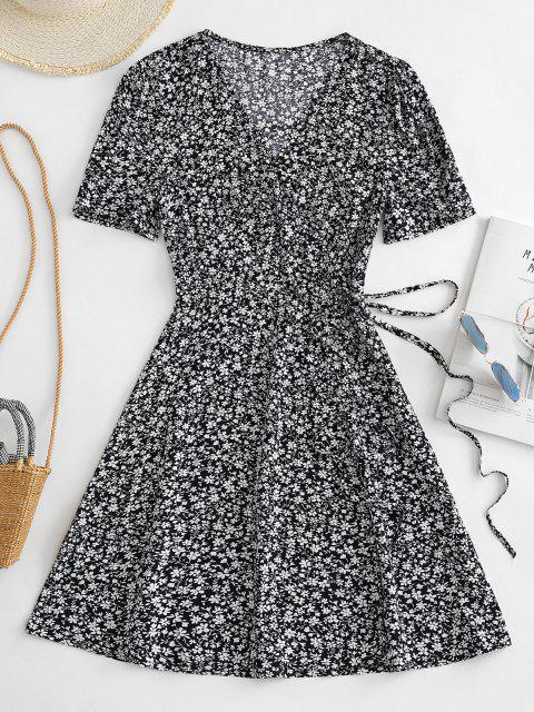 sale V Neck Tiny Floral Wrap Dress - DEEP BLUE L Mobile