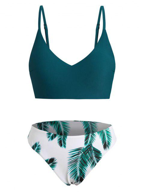 latest ZAFUL Plus Size Leaf Print Full Coverage Bikini Swimwear - DEEP GREEN XL Mobile