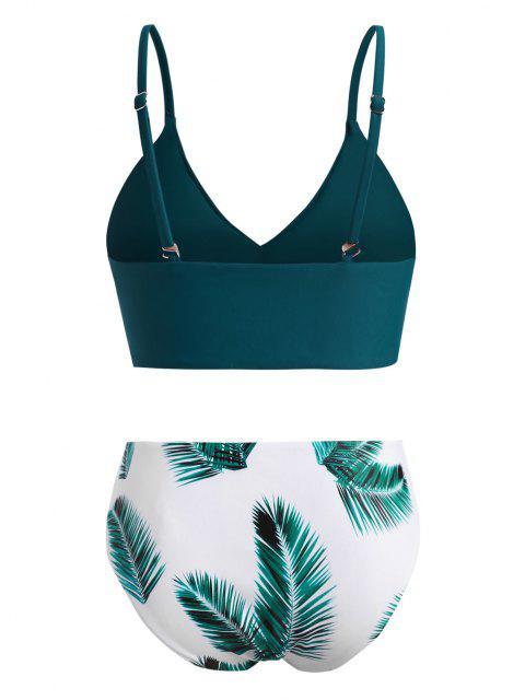 ZAFUL Übergröße Blattdruck Voller Ärmel Bikini Badebekleidung - Dunkelgrün XXL Mobile