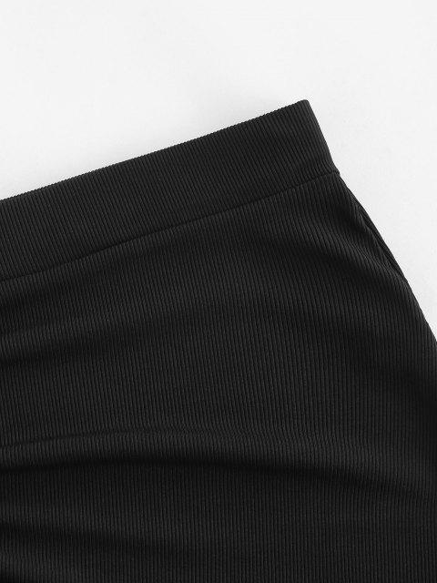 unique Ribbed Cinched Tie Ruched Bodycon Skirt - BLACK L Mobile