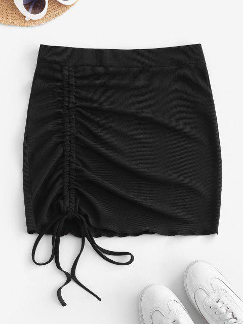 Ribbed Cinched Tie Ruched Bodycon Skirt - أسود XS Mobile
