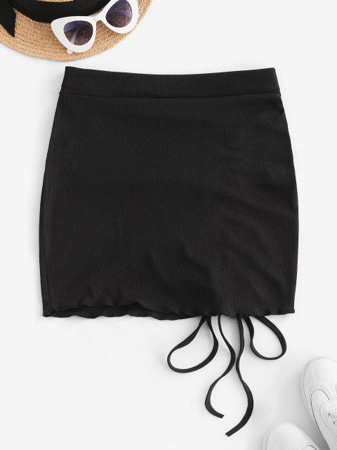 buy Ribbed Cinched Tie Ruched Bodycon Skirt - BLACK S Mobile