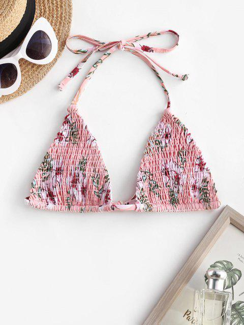 ZAFUL Halter Plant Print Smocked Bikini Top - وردي فاتح S Mobile