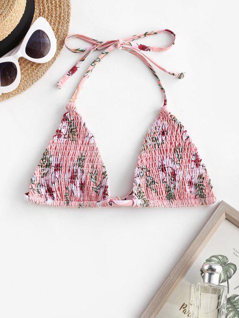 trendy ZAFUL Halter Plant Print Smocked Bikini Top - LIGHT PINK L Mobile