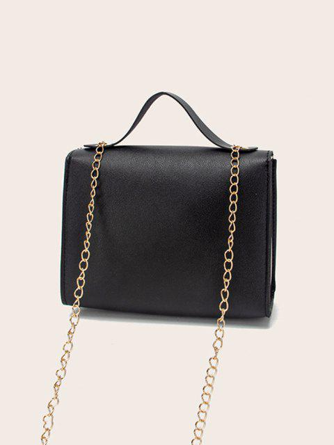 fashion Colorblock Heart Shape Hasp Handbag - BLACK  Mobile