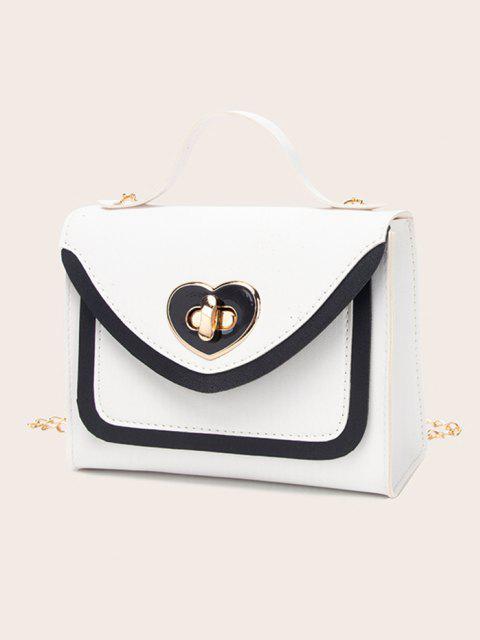 Bolsa de mão com couro estampado - Branco  Mobile