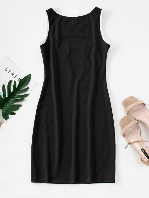 best Cutout Binding Bodycon Tank Dress - BLACK XL Mobile