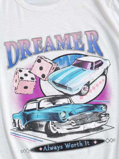 T-shirt de Emagrecimento de Impressão Gráfica de Mangas Curtas de Gola Dobradiça para Homens - Branco L Mobile