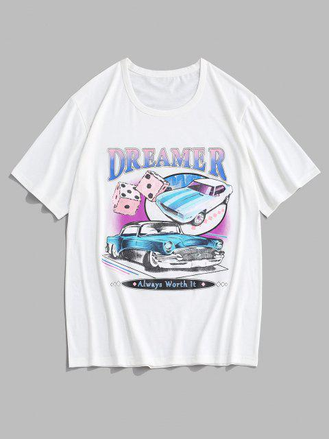 latest Dreamer Car Dice Graphic Short Sleeve T-shirt - WHITE XL Mobile