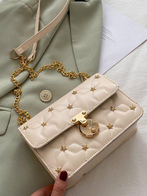 Star Pattern Quilted Crossbody Bag - كريم كريستال  Mobile