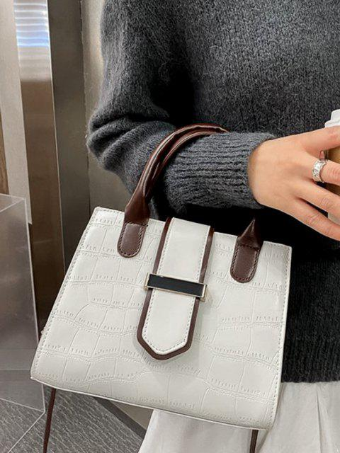 affordable Stone Grain Color Block Buckle Strap Tote Bag - CRYSTAL CREAM  Mobile