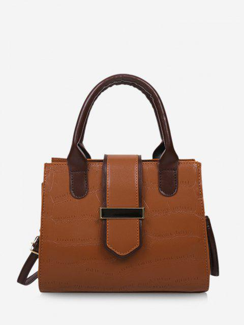 buy Stone Grain Color Block Buckle Strap Tote Bag - LIGHT BROWN  Mobile