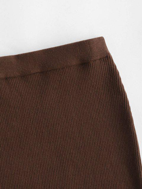 sale Ribbed Knit Slinky Bodycon Skirt - DEEP COFFEE M Mobile