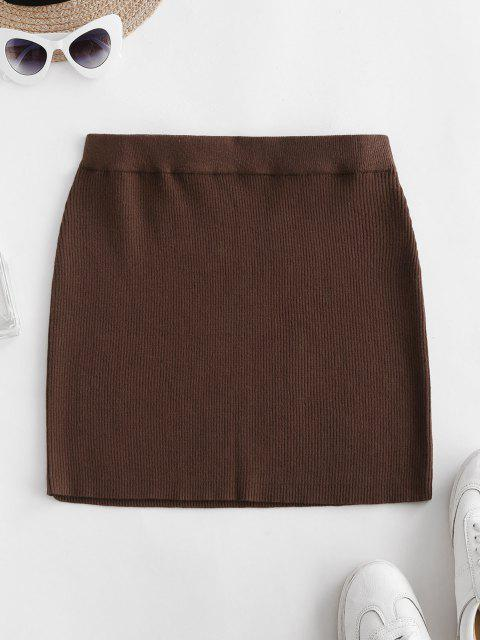buy Ribbed Knit Slinky Bodycon Skirt - DEEP COFFEE S Mobile