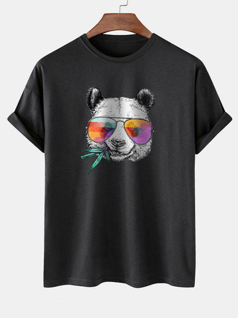 shop Cool Panda With Glasses Print Basic T-shirt - BLACK M Mobile