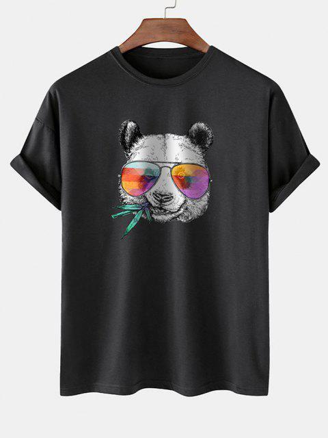 womens Cool Panda With Glasses Print Basic T-shirt - BLACK XL Mobile