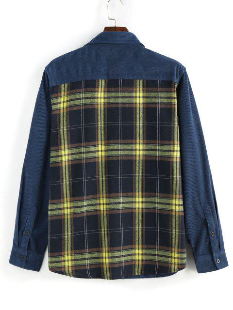 ZAFUL Camisa de Pana con Panel Botón a Cuadros - Azul Profundo L Mobile