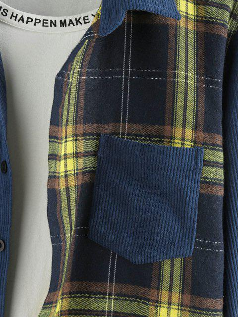 ZAFUL Chemise Boutonnée Panneau à Carreaux en Velours Côtelé - Bleu profond 2XL Mobile
