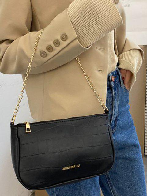 chic Stone Grain Buckle Strap Chain Convertible Bag - BLACK  Mobile