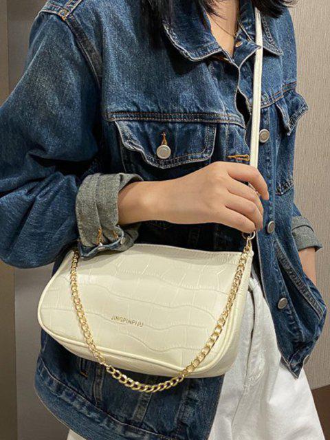 fancy Stone Grain Buckle Strap Chain Convertible Bag - CRYSTAL CREAM  Mobile