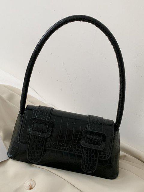 Strukturierte Schnallen Verschönerte Handtasche - Schwarz  Mobile