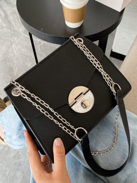 women Cover Chain Shoulder Bag - BLACK  Mobile