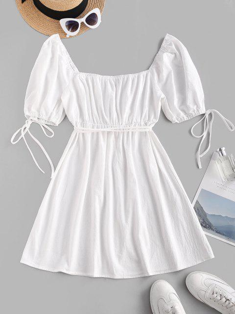 Gebundenes Puff Ärmel Milkmaid Minikleid - Weiß XS Mobile
