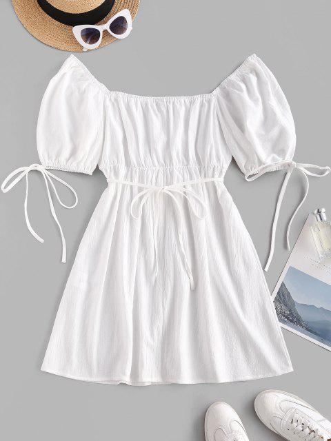 fashion Puff Sleeve Tie Waist Milkmaid Mini Dress - WHITE XS Mobile